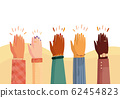 Modern vector illustration of international human hands clapping. Ovation celebrating applause 62454823