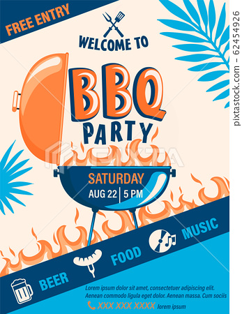 Welcome BBQ party flyer. 62454926