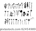 Wild flowers set. Floral silhouettes. Ink drawing. Hand drawn plants. Vector illustration isolated 62454989