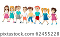 The group of children holding hands and cross the road. Vector illustration 62455228