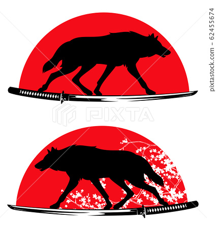 wolf, samurai katana sword, blooming sakura and red sun vector design set 62455674