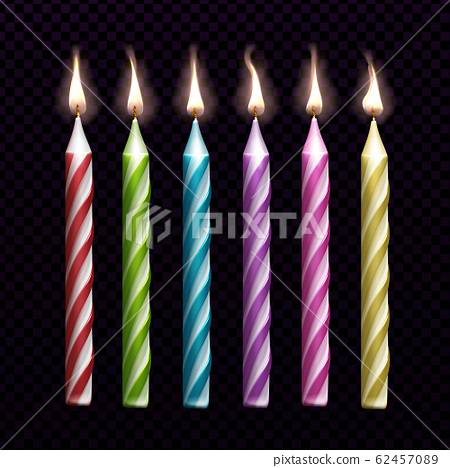 Burning candles for birthday cake set isolated 62457089