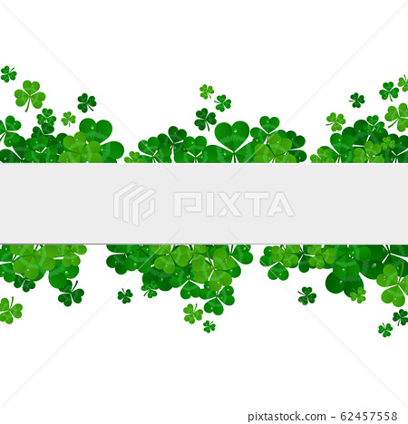 Saint Patrick's day vector frame with green shamrock 62457558