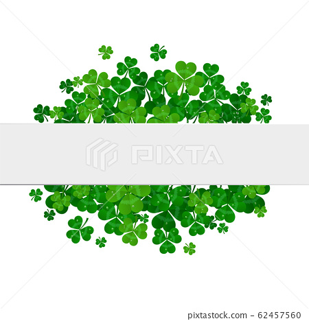 Saint Patrick's day vector frame with green shamrock 62457560