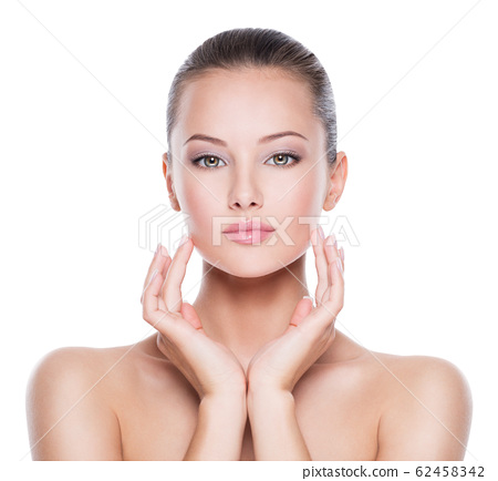 Portrait of young beautiful woman  with  hands at 62458342