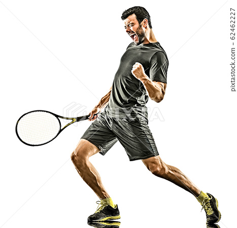 mature tennis player man happy winner strong powerful isolated white background 62462227