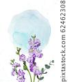 水彩背景與紫色的花蒙太奇 62462308