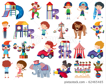 Large set of isolated objects theme circus 62465485