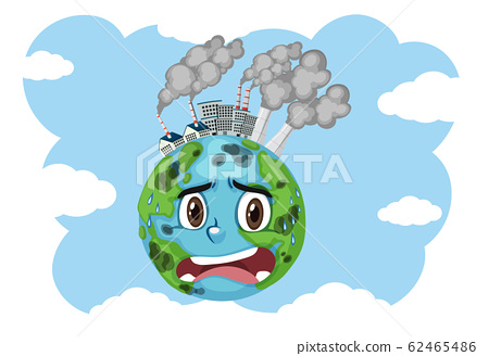 Pollution on earth with factory buildings and 62465486