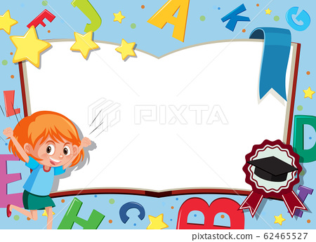 Banner template with happy girl and english 62465527