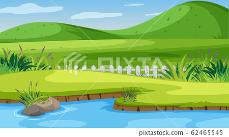 Nature scene with small hills and river 62465545