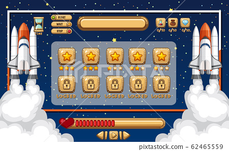 Game template with spaceship and space background 62465559