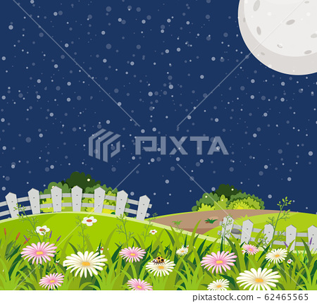 Scene with green hills full of flowers at night 62465565