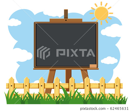 Blackboard template design with sunny sky in 62465631