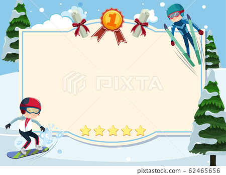 Banner template with people doing winter sports in 62465656