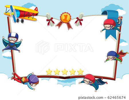 Banner template with skydivers and airplane in sky 62465674