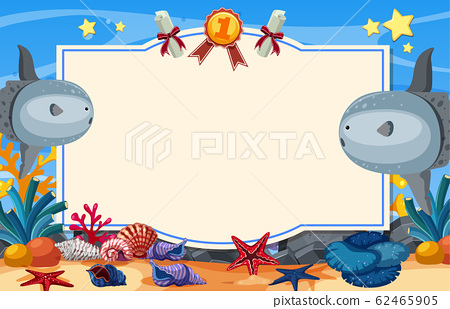 Banner template with sunfish swimming under the 62465905