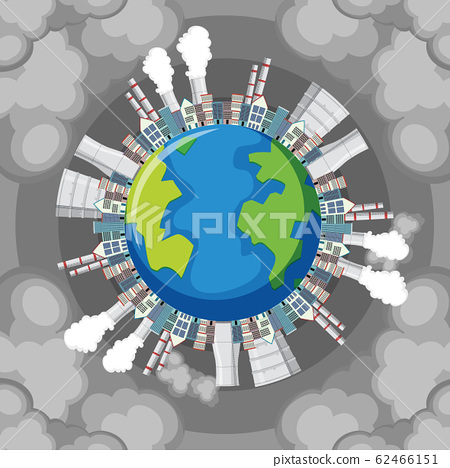 Pollution on earth with factory buildings and 62466151