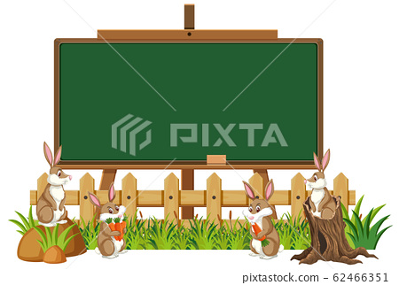 Blackboard template design with many rabbits in 62466351