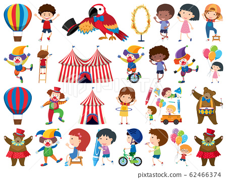 Large set of isolated objects of kids and circus 62466374