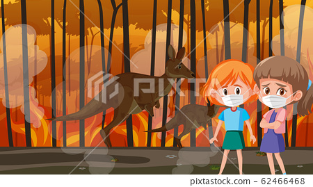 Scene with girls and animals in the big wildfire 62466468