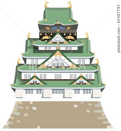 Osaka castle image tourist spot illustration icon 62467797
