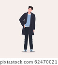 beautiful man standing pose male cartoon character in fashion clothes full length flat 62470021