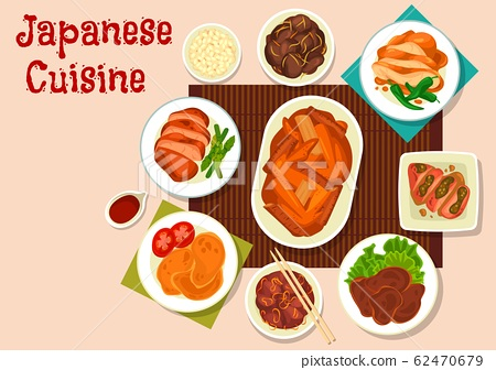 Japanese meat dishes with vegetables and spices 62470679