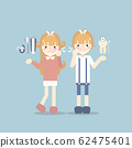boy and girl kid have a toothache with toothpaste, toothbrush, dental floss, dental care concept 62475401