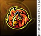 Phoenix head esport logo with headphones 62475832