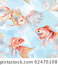 Goldfish. Seamless watercolor pattern on a watercolor background 62476108
