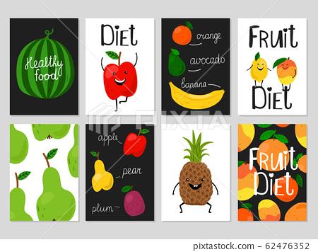 Cartoon fruits cards 62476352
