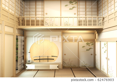 interior design Large two story room japan style. 62476903
