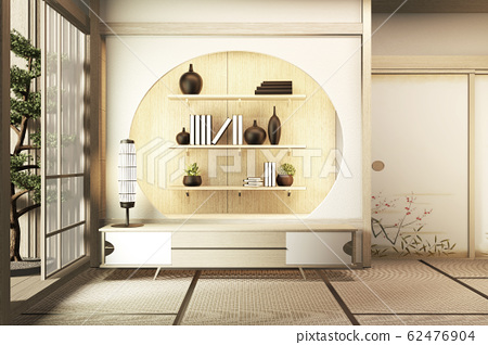 interior, Cabinet wooden in modern living room 62476904