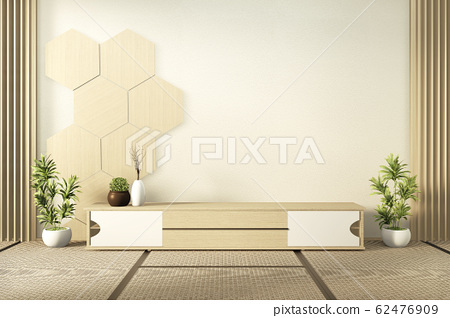 wooden cabinet tv with wooden hexagon tiles on 62476909