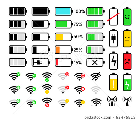 Charge and signal mobile icons 62476915