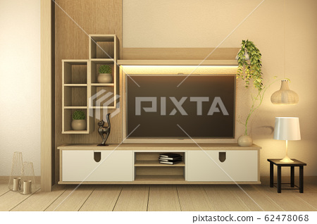 TV cabinet on white wood flooring and white wall, 62478068