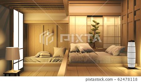 Empty room wood on wooden floor japanese interior 62478118