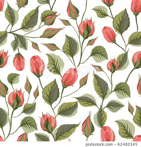 Rose flower vector seamless pattern. 62480345