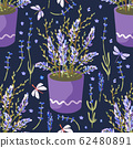 Provence seamless lavender vector pattern. 62480891