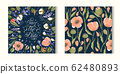 Floral greeting wedding card template. 62480893