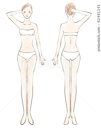 전신 여자 알몸 번째 닫기 손 튀김 비키니 흰색 (컬러) 62481145