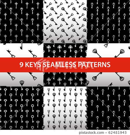 Set of vintage keys black and white vector seamless pattern 62481943