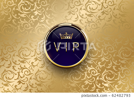 Vip blue label with round golden ring frame crown 62482793