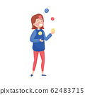 Young Woman Wearing Circus Wear Juggling with Balls Vector Illustration 62483715