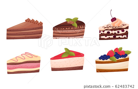 Sweet Cakes with Whipped Cream and Berries on Top Vector Set 62483742