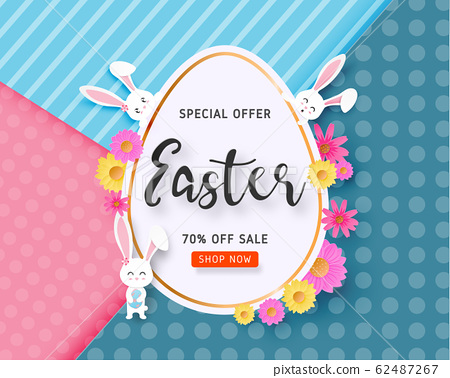 Happy Easter sale banner with Easter egg, bunny 62487267