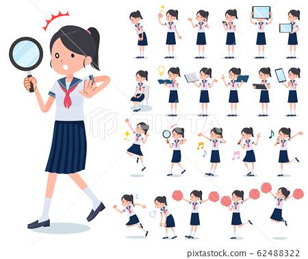 flat type school girl Sailor suit summer_Action 62488322