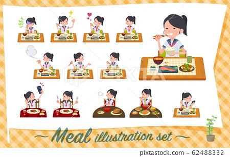 flat type school girl Sailor suit summer_Meal 62488332
