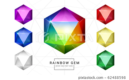 Fantasy crystal jewelry gems, polygon shape stone for game asset. 62488598
